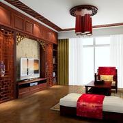 71平米中式风格小户型客厅装修效果图