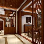 新中式风格玄关博古架装修效果图