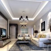 北欧风格三居室客厅吊顶装修效果图实例