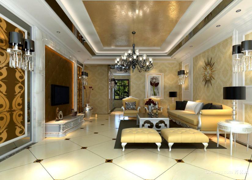 别墅现代简欧风格客厅装修效果图实例欣赏