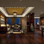 88平米深色系中式风格客厅装修效果图