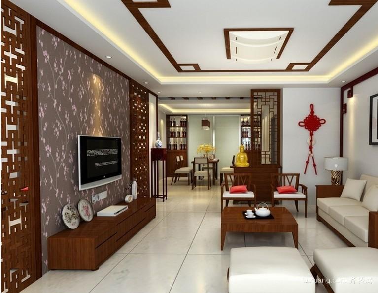 两室一厅新中式风格电视墙装修效果图