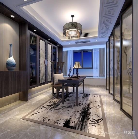 2016新中式风格大别墅书房装修效果图