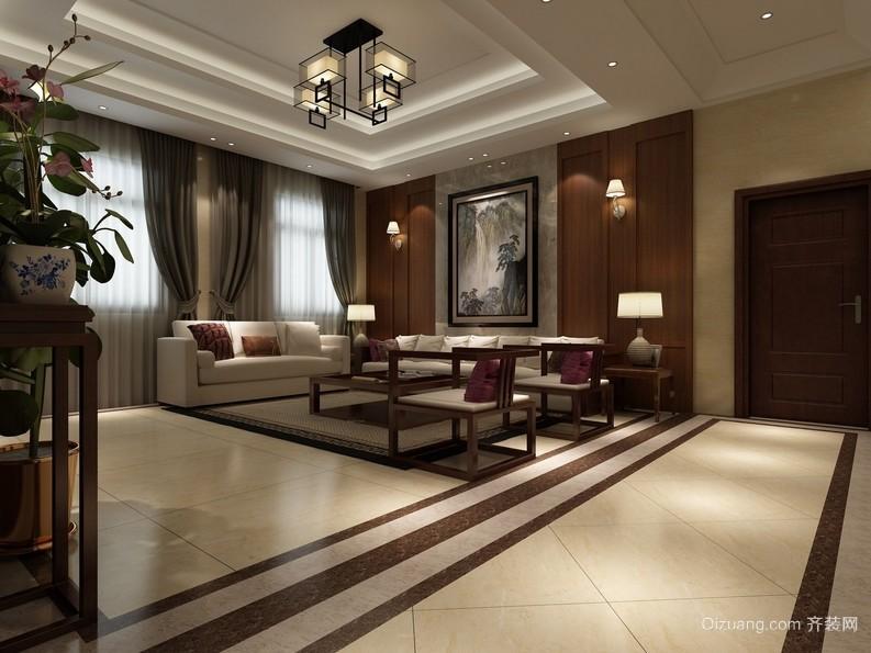 温和大户型新中式风格客厅装修效果图
