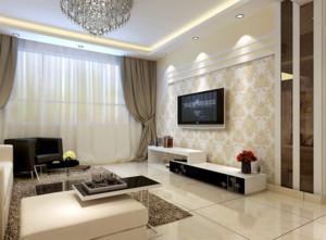 90平米欧式大户型客厅电视背景墙装修效果图