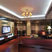 122平米中式风格大户型客厅装修效果图