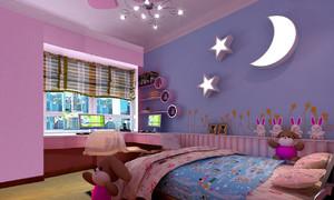 紫色梦幻的两居室儿童房设计装修效果图