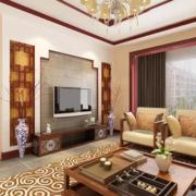 现代大户型中式风格客厅装修效果图实例
