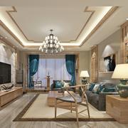 166平米大户型中式风格客厅装修效果图