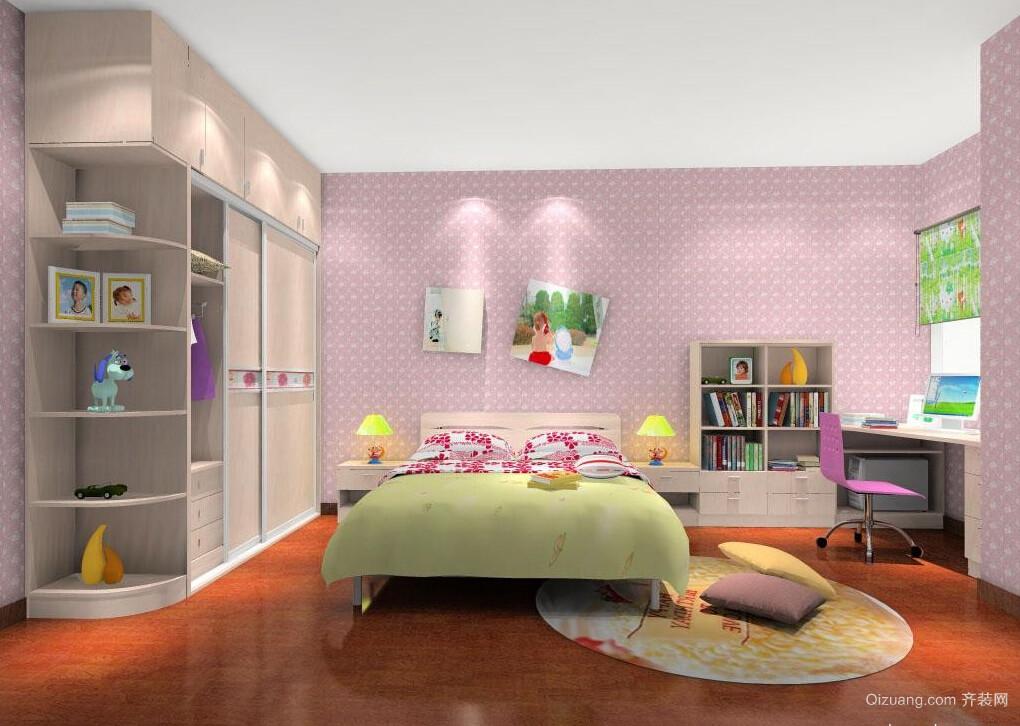 浪漫粉色大户型儿童房设计装修效果图