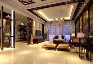 豪华复式楼中式风格客厅装修效果图