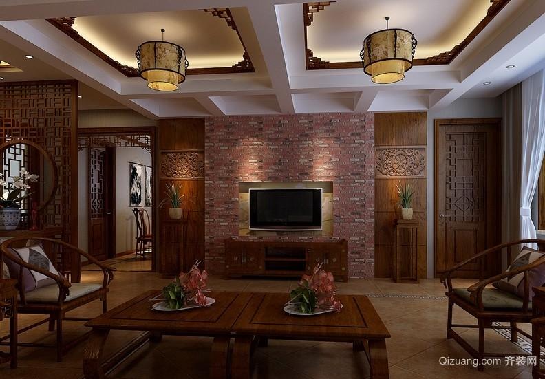 古典中式风格小户型电视背景墙装修图