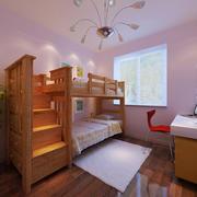 朴素儿童房实木双层床设计装修效果图