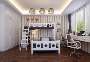 韩式时尚儿童房高低床设计装修效果图
