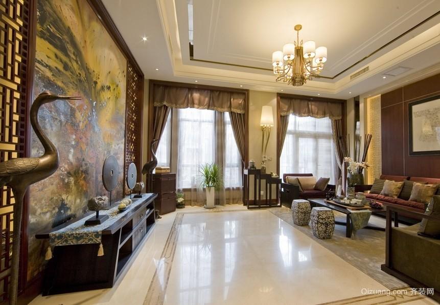 240平米中式风格客厅背景墙装修效果图