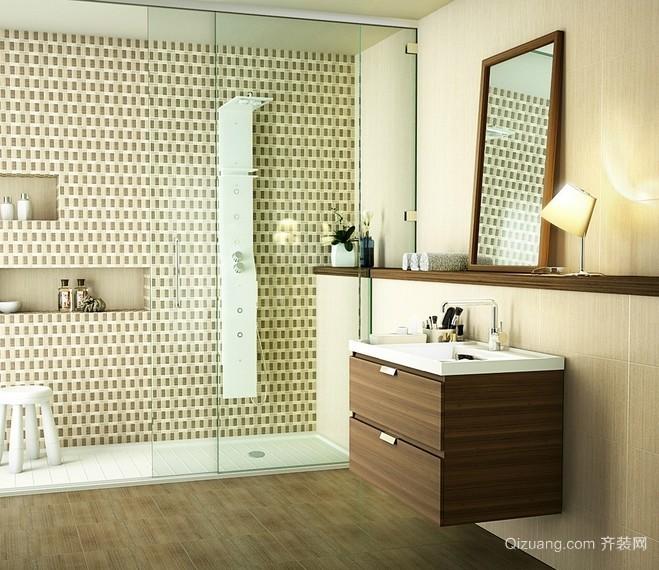 70平米小公寓浅色调卫生间装修设计图