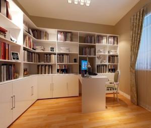 大户型经典的现代书房书柜装修效果图