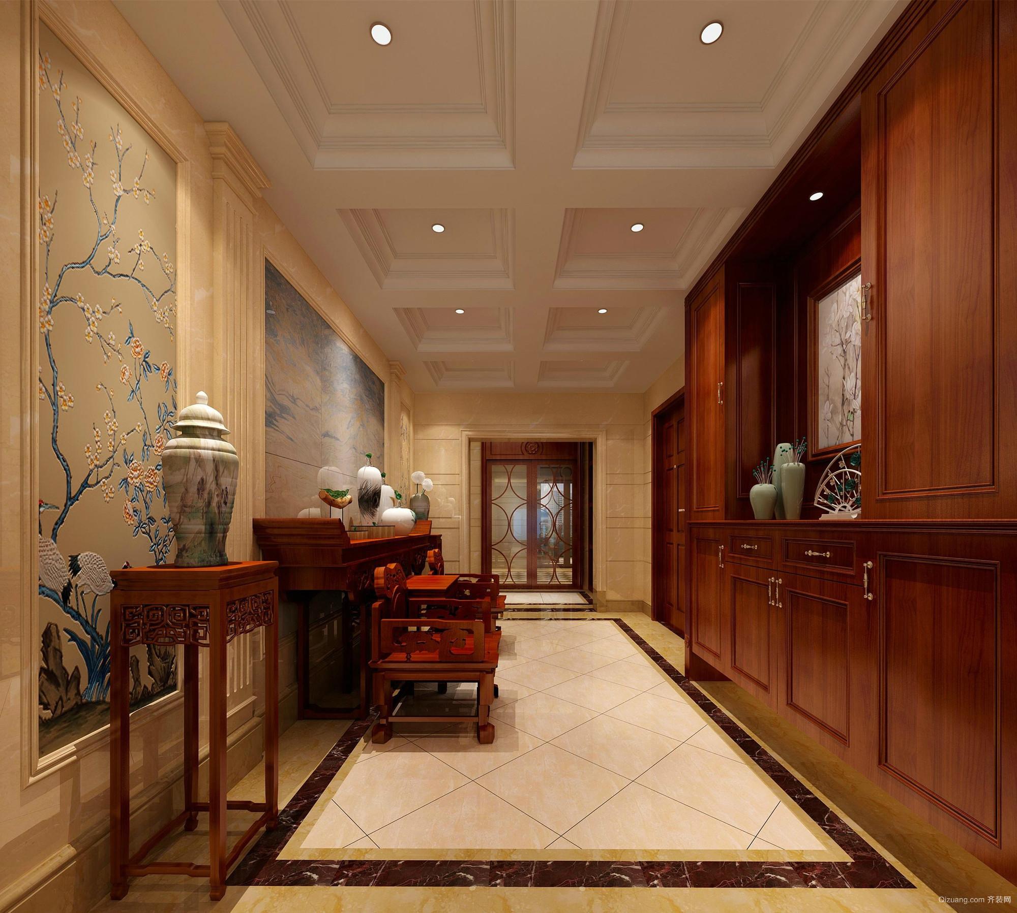 中式古典格调的大户型玄关设计效果图