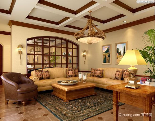 90平米欧式风格客厅室内吊顶装修效果图