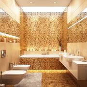 橙色现代卫生间瓷砖装修设计效果图
