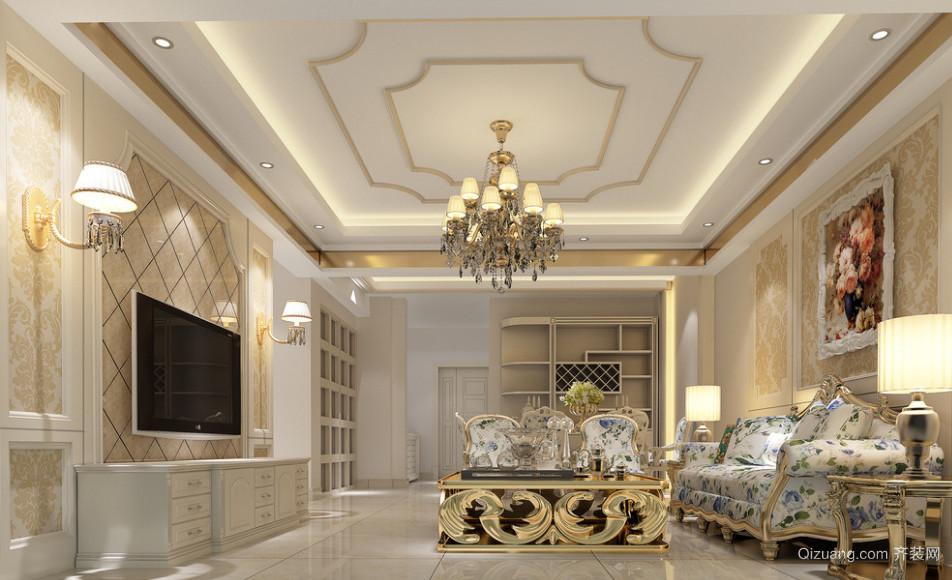 经典别墅型现代欧式客厅装修效果图实例