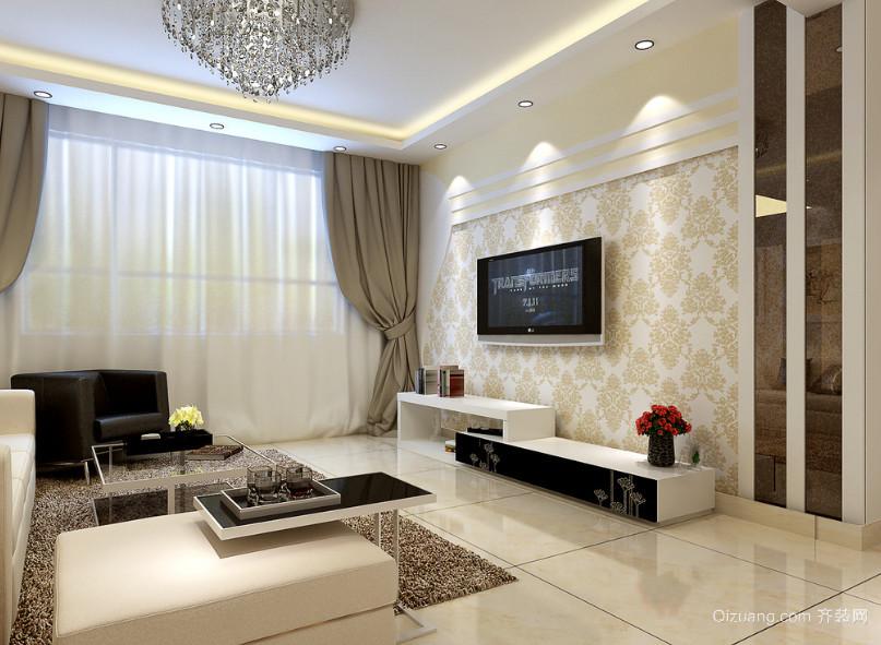 2016别墅型欧式客厅电视背景墙效果图实例