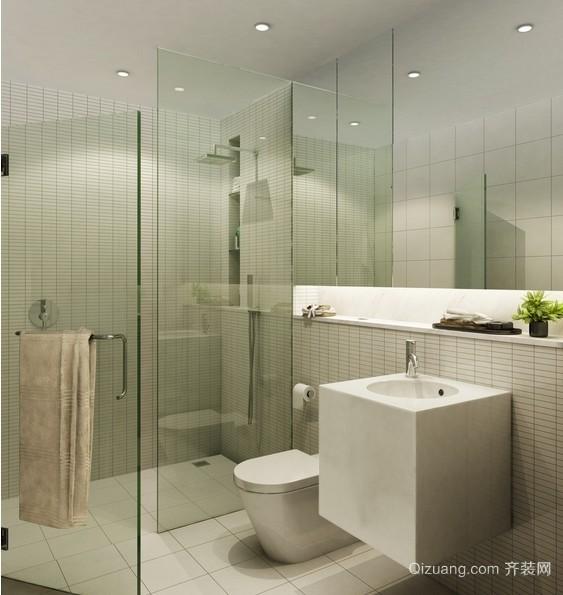 小型简约卫生间玻璃隔断装修设计效果图