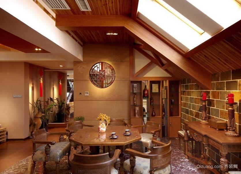 现代家庭中式阁楼餐厅装修效果图大全