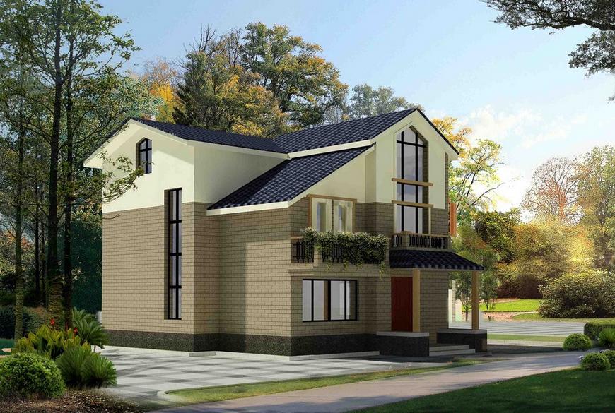 2016现代唯美的二层别墅外观设计效果图图片