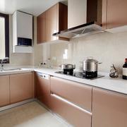 现代大户型厨房不锈钢橱柜装修效果图
