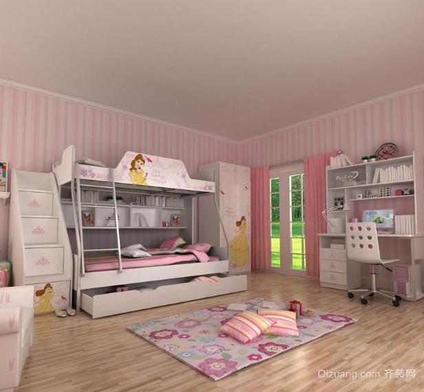 别墅型欧式风格儿童房高低床装修效果图