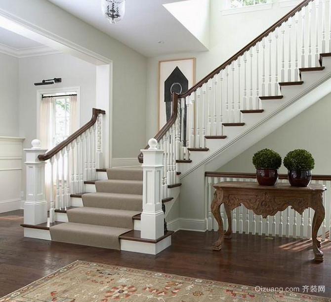 纯白色调室内欧式楼梯装修效果图鉴赏