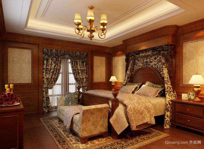 别墅美式装修风格样板房卧室装修效果图
