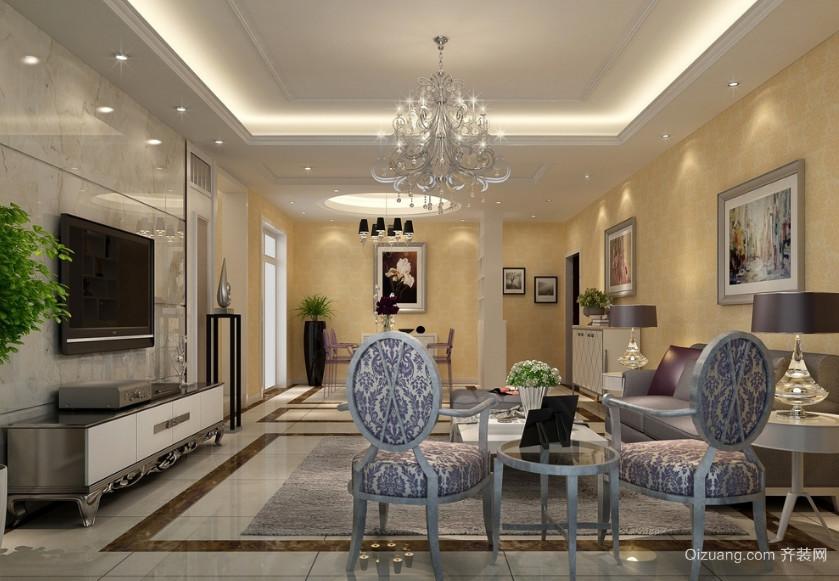 100平米简欧风格客厅背景墙装修效果图鉴赏