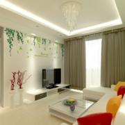 别墅型欧式风格客厅石膏板吊顶装修效果图