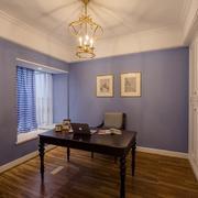 紫蓝色简约小户型书房装修设计效果图