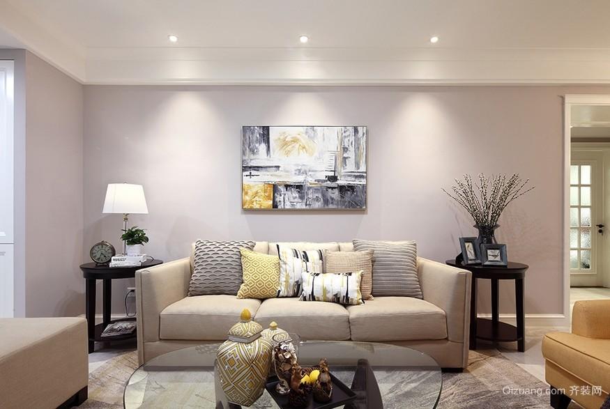 安静素雅的120平米家居沙发背景墙效果图