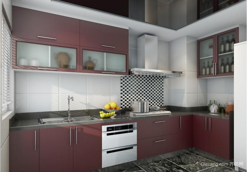 别墅型欧式风格不锈钢橱柜装修效果图