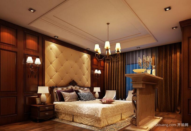 现代别墅欧式风格卧室背景墙装修效果图