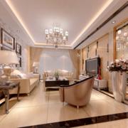 单身公寓欧式风格客厅吊顶设计装修效果图