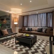 咖啡色98平米现代客厅装修效果图欣赏