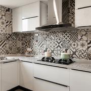 现代小厨房瓷砖背景墙设计装修效果图