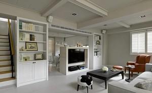 小跃层现代客厅电视墙隔断设计效果图
