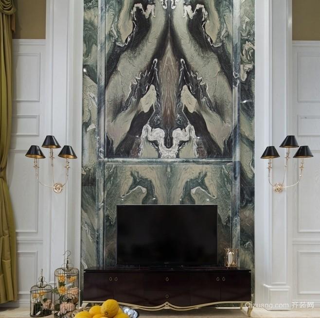 混搭风格二层复式楼电视背景墙效果图片