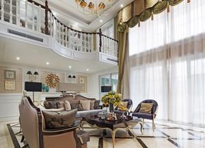 简欧风复式楼柔美客厅装修设计图片