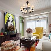 色彩鲜艳的混搭风小客厅装修设计图片