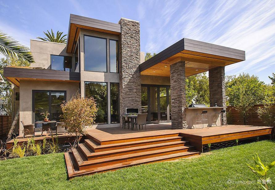 现代美式风格装修别墅外观设计效果图