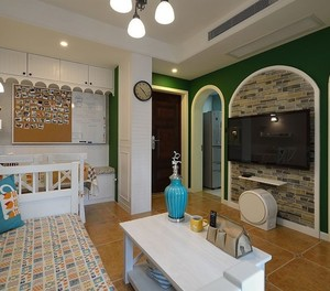 67平米小户型客厅电视背景墙效果图片