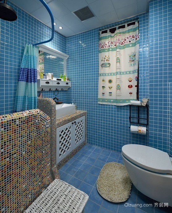 61平米家居地中海风格卫生间设计效果图