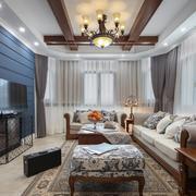 2016优雅美式风大客厅装修设计图片